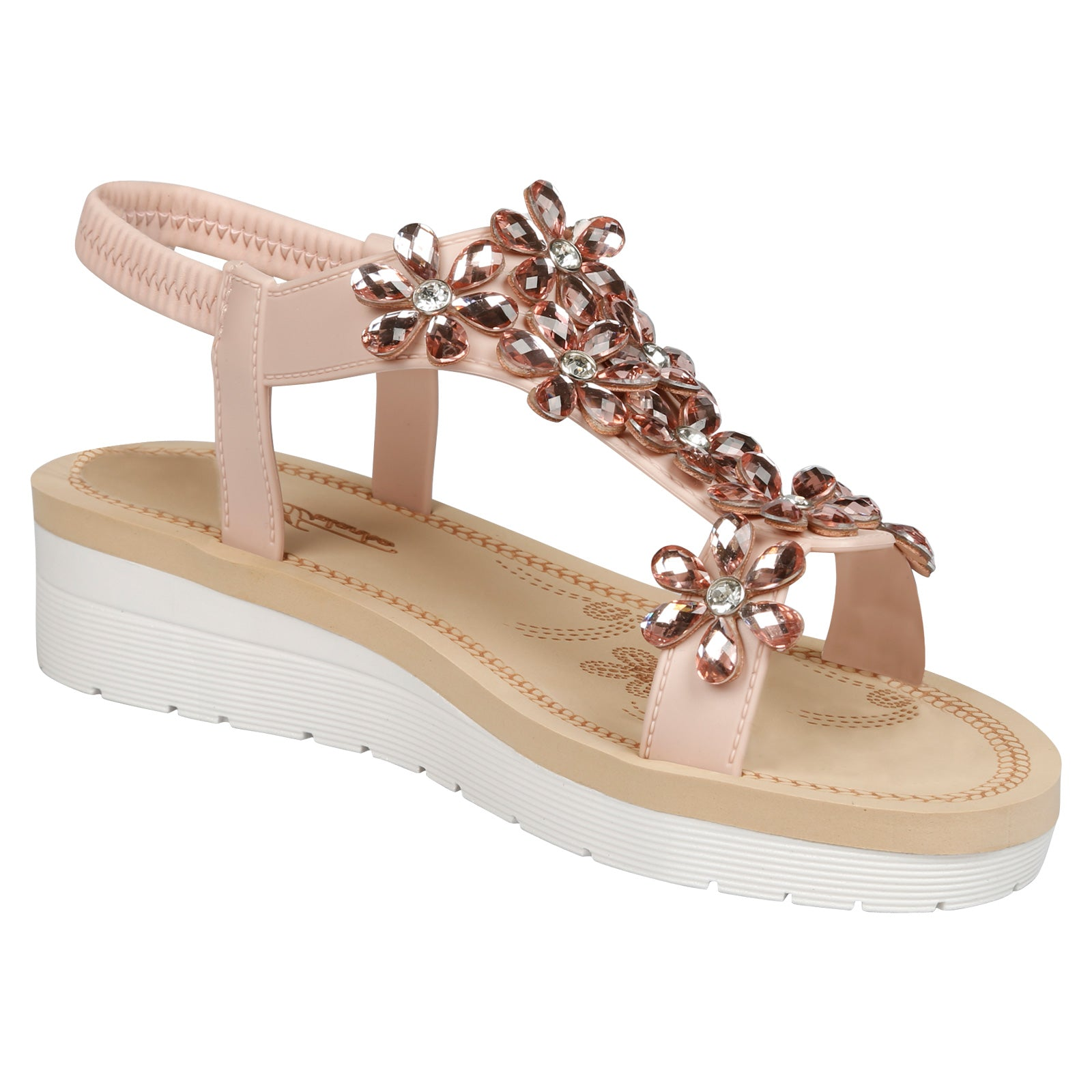 Demeter Flatform Floral Jewel Sandals in Pink Faux Leather - Feet First Fashion