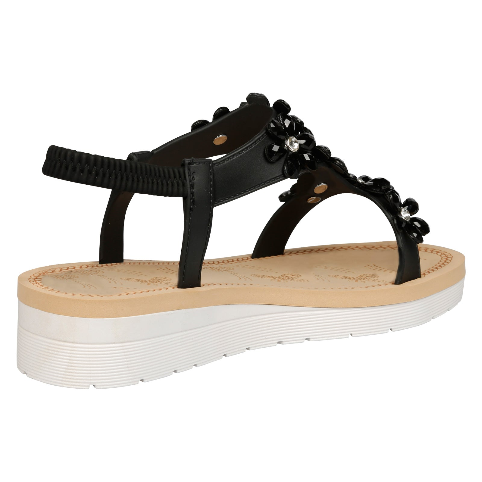 Demeter Flatform Floral Jewel Sandals in Black Faux Leather - Feet First Fashion