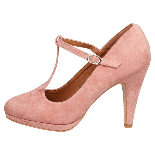 Milena Heeled T- Strap Pumps in Nude Pink Faux Suede