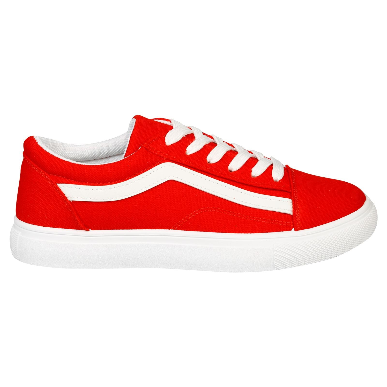 Lauren Lace Up Stripe Canvas Trainers in Red