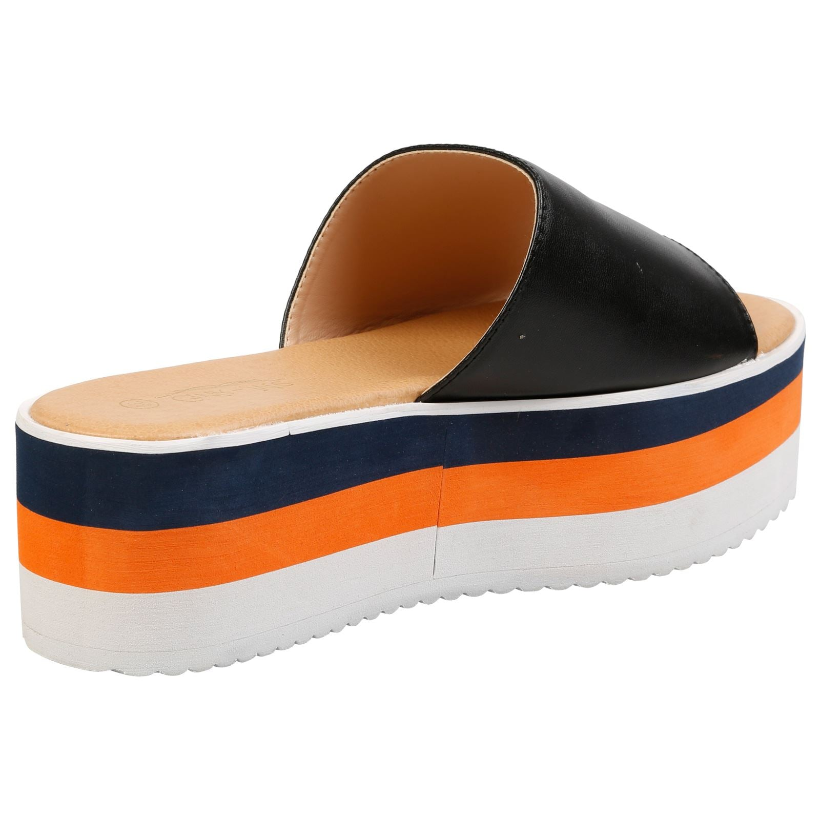 Alva Stripe Sole Flatform Sliders in Black Faux Leather