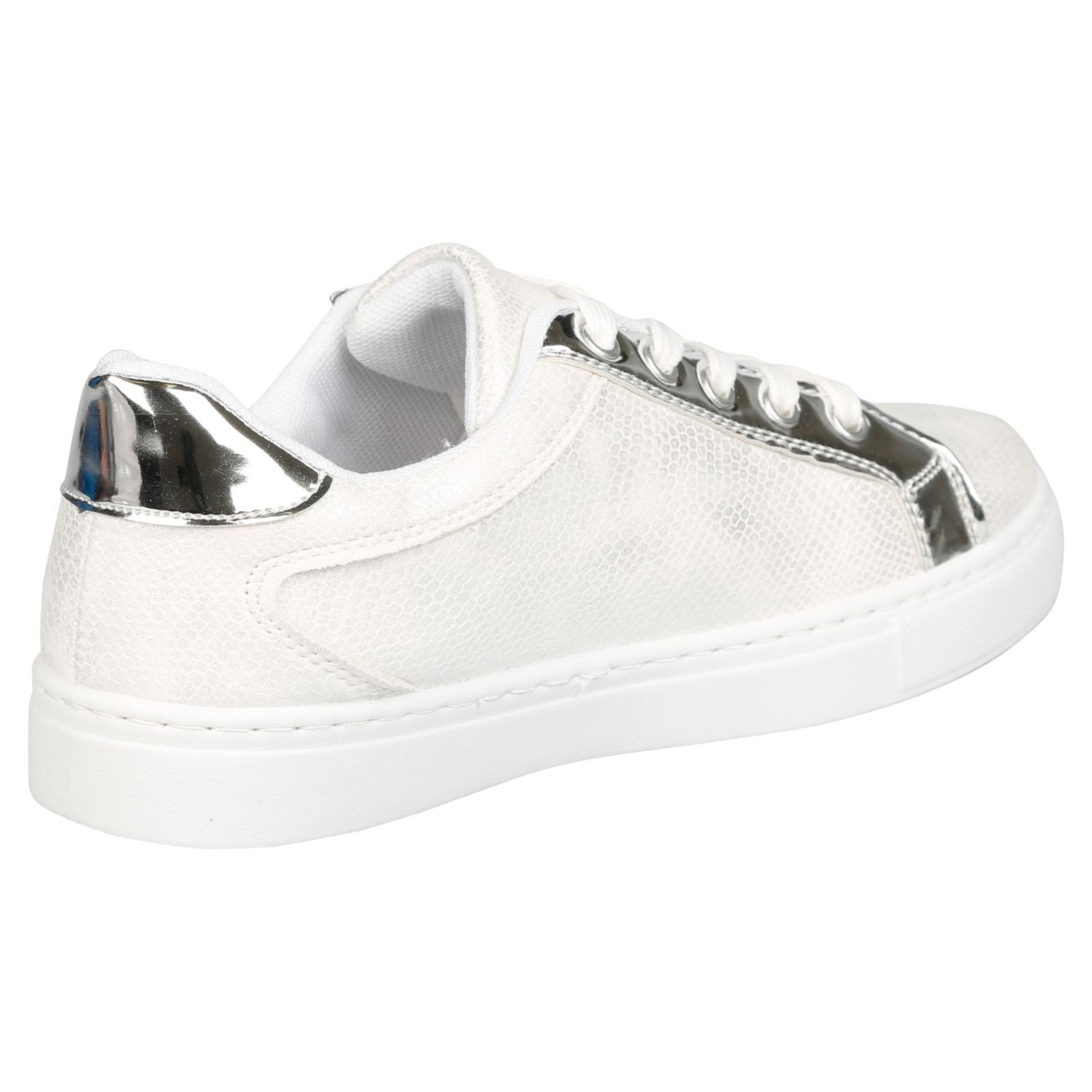 Raizel Metallic & Zip Detail Skater Pumps in White