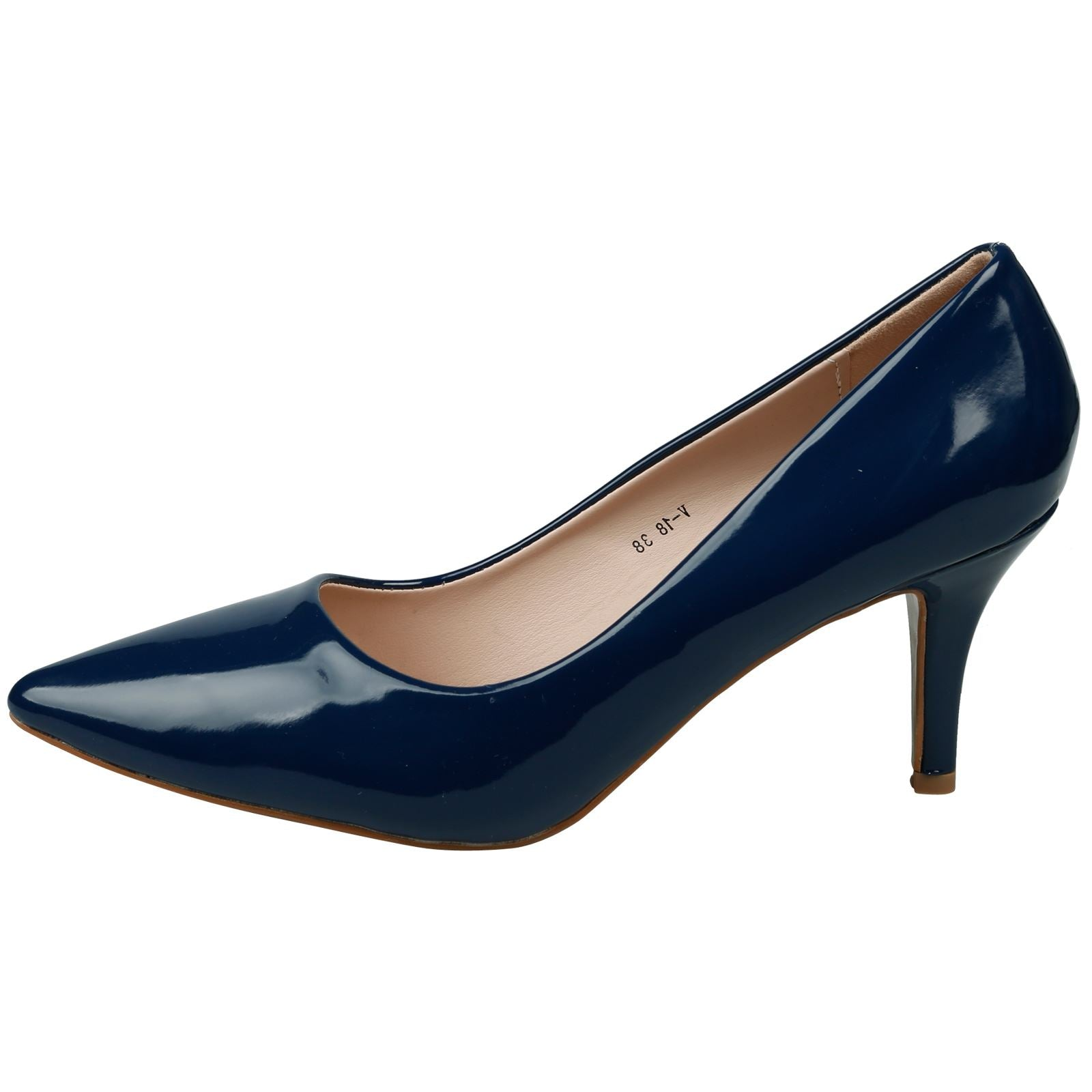 Maude Kitten Heel Pointed Toe Court Shoes in Navy Blue Patent