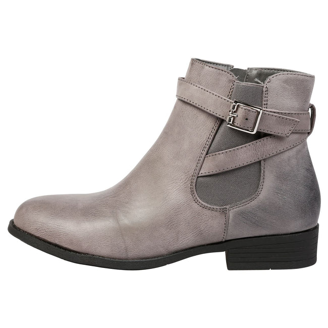 Monica Buckle Detail Ankle Boots in Grey - Feet First Fashion