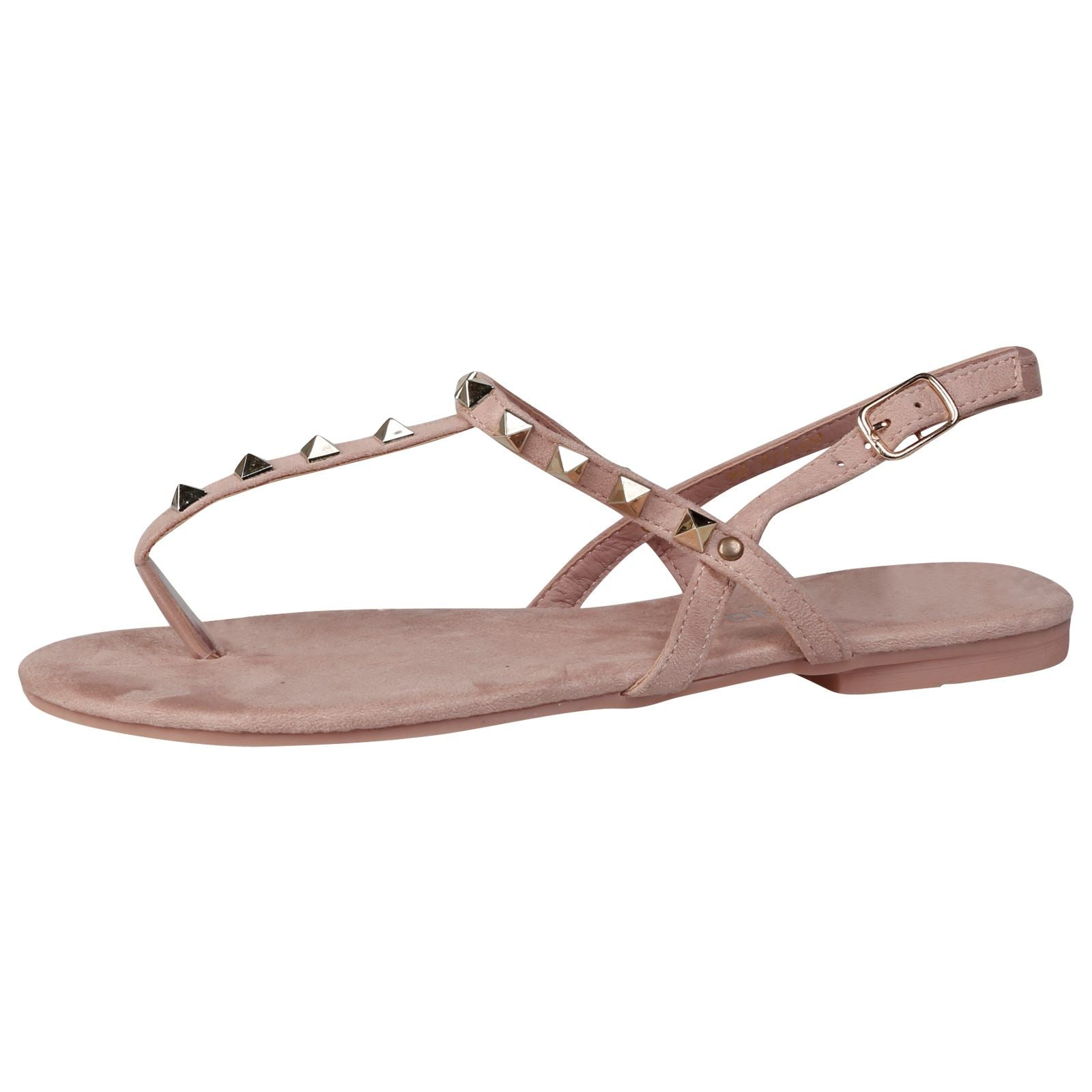 Laya Flat Studded T Bar Sandals in Pink Faux Suede