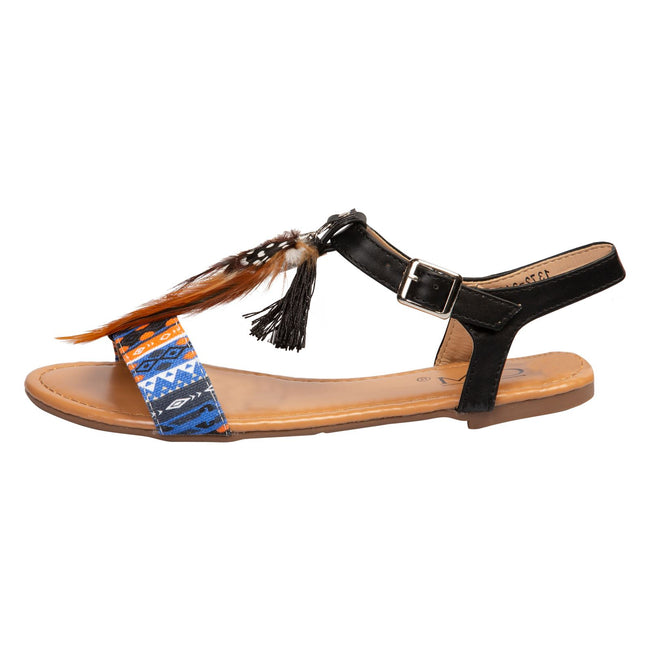 Nora Feather and Tassel Sandals in Black - Feet First Fashion