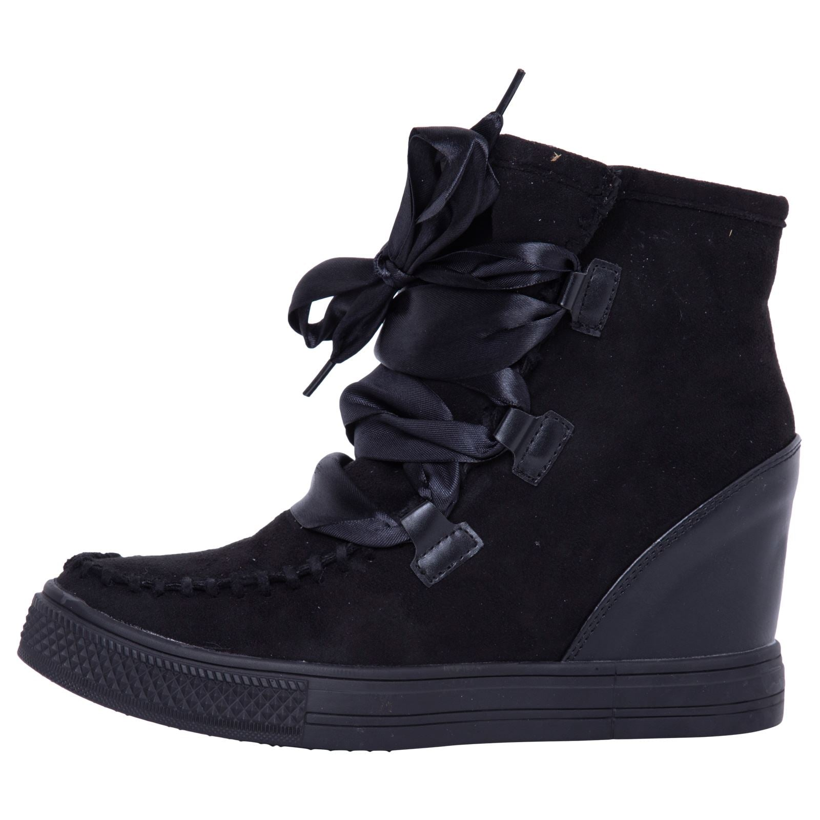 Kacee Stylish Wedge Trainers in Black With Ribbon - Feet First Fashion