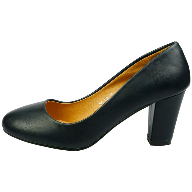 Reeva Block Heel Court Shoes in Navy Faux Leather