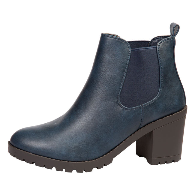 Amaya Block Heel Chelsea Boots in Navy Blue Faux Leather