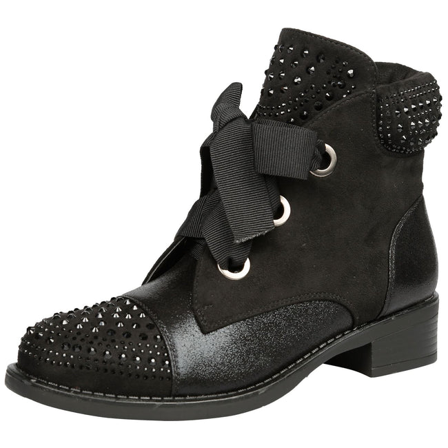 Nathalie Studded Lace Up Ankle Boots in Black