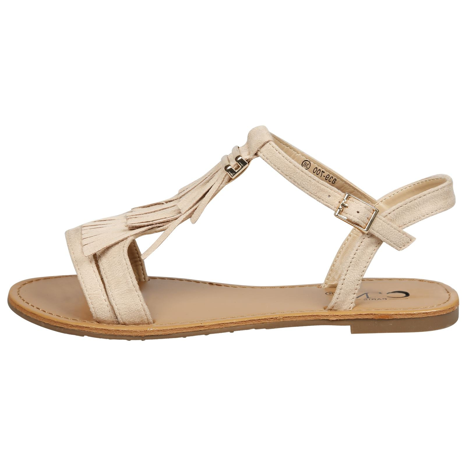 Luisa Fringed T Bar Sandals in Beige Faux Suede