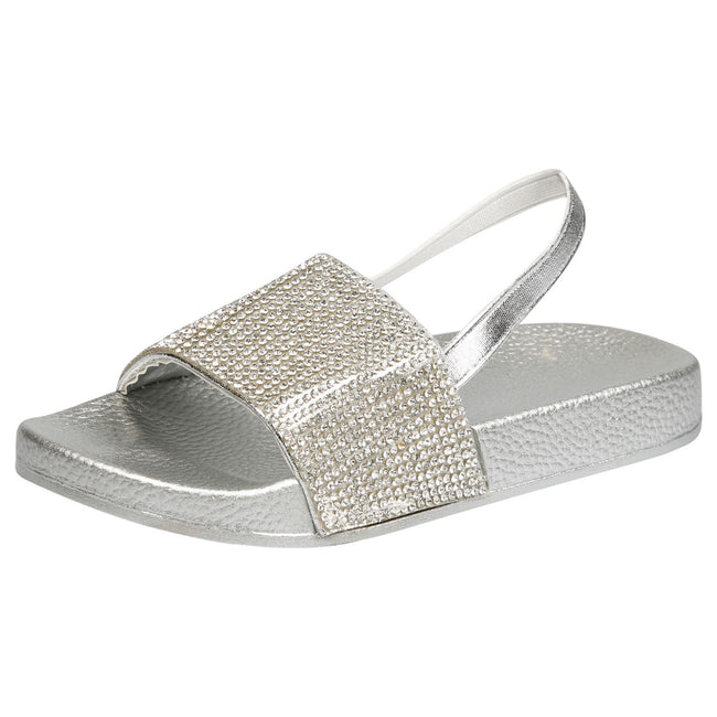 Sue Girls Elasticated Diamante Sliders in Silver - Feet First Fashion