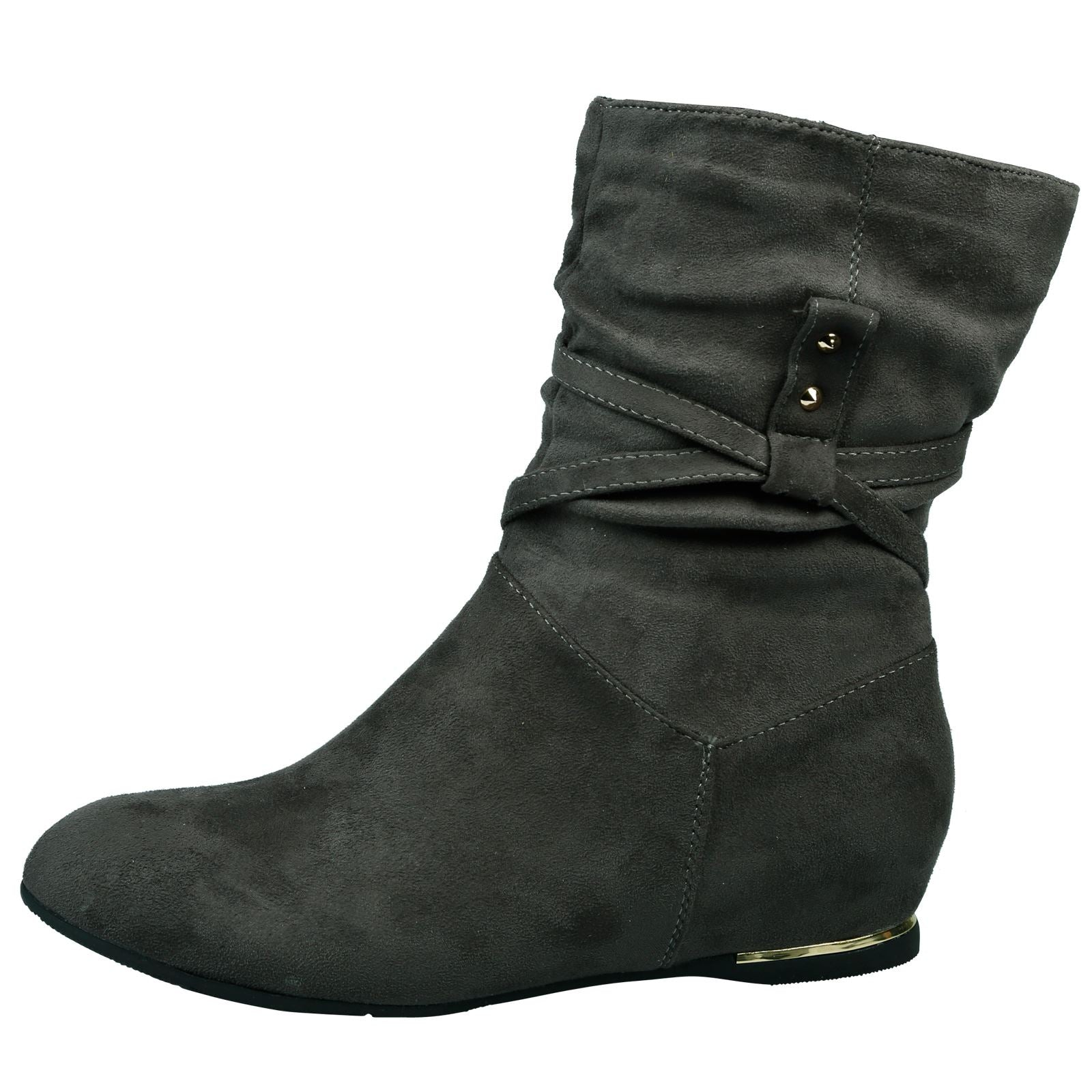 Sylvana Hidden Wedge Slouchy Ankle Boots in Grey Faux Suede