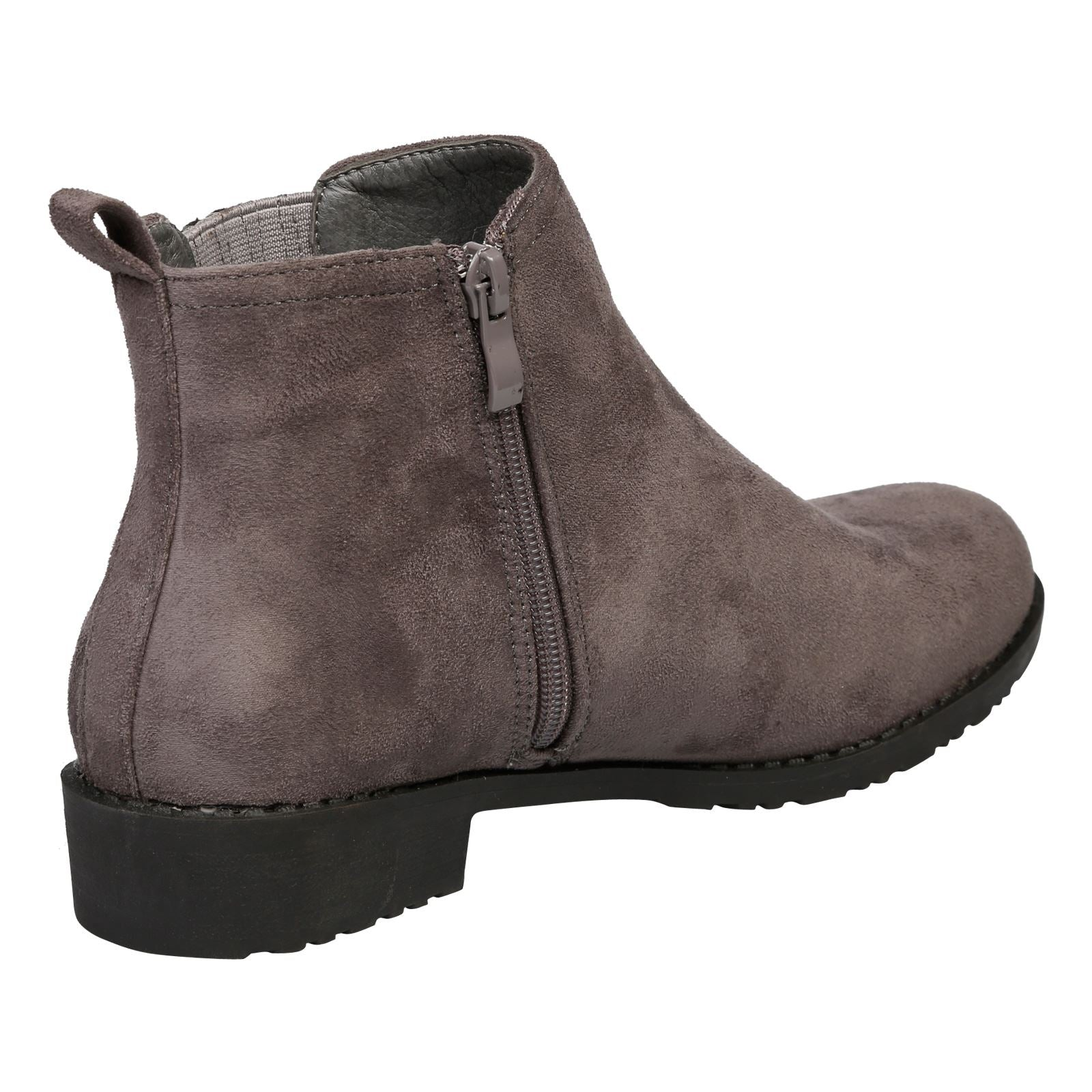 Cara Low Heel Ankle Boots in Grey Faux Suede - Feet First Fashion