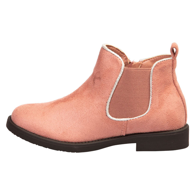 Serlena Girls Chelsea Ankle Boots in Pink Faux Suede - Feet First Fashion