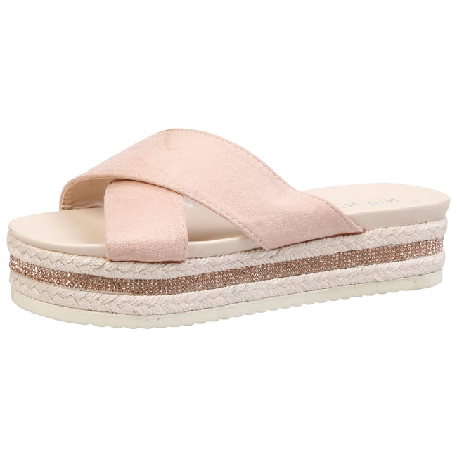 Primrose Diamante Sole Sliders in Pink Faux Suede
