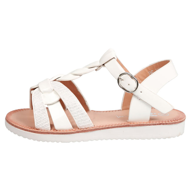 Yumi Girls Two Tone Strappy Sandals in White Patent - Feet First Fashion