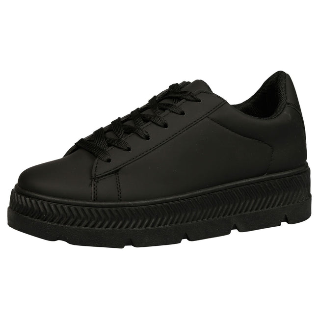 Cambridge Chunky Flatform Creepers in Black Faux Leather
