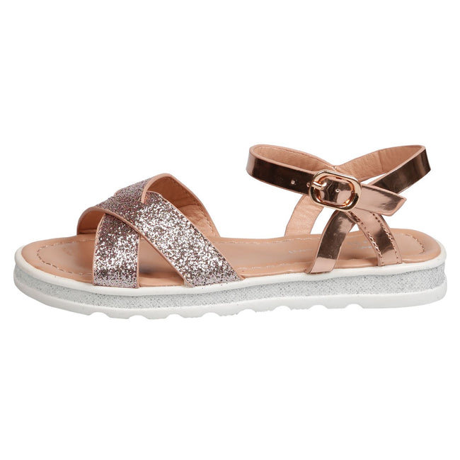 Bernice Girls Metallic Glitter Sandals in Rose Gold - Feet First Fashion