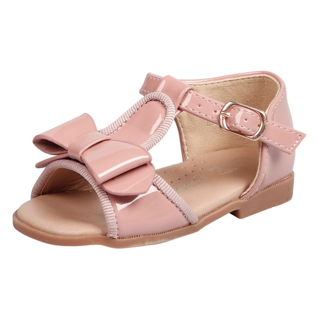 Lilian Girls T-Bar Bow Sandals in Pink Patent - Feet First Fashion