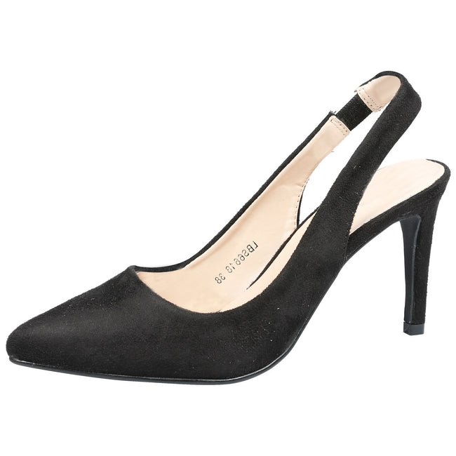 Prudence Slingback Pumps in Black Faux Suede