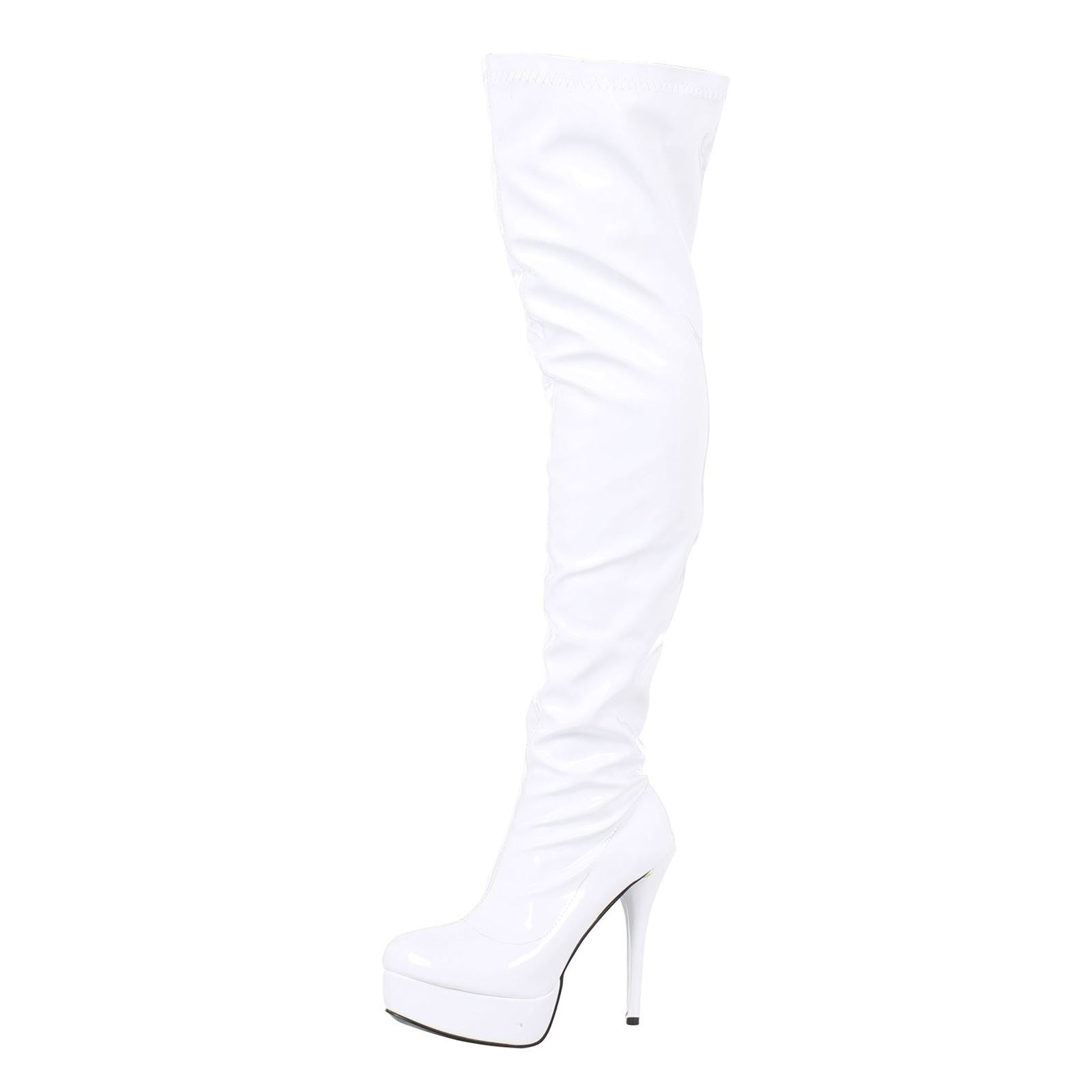 Dita Thigh High Platform Boots in White Patent