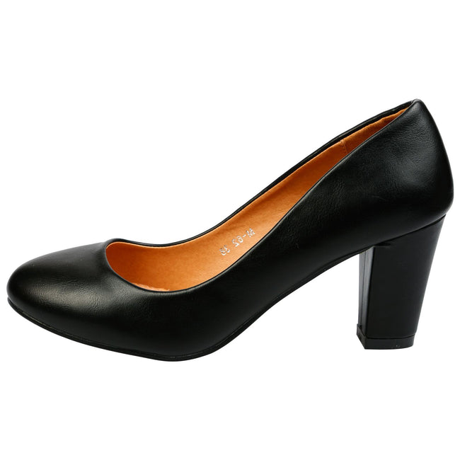 Reeva Block Heel Court Shoes in Black Faux Leather