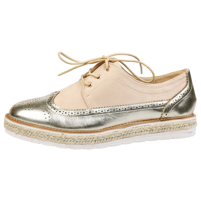 Regina Two Tone Flatform Brogues in Gold & Beige