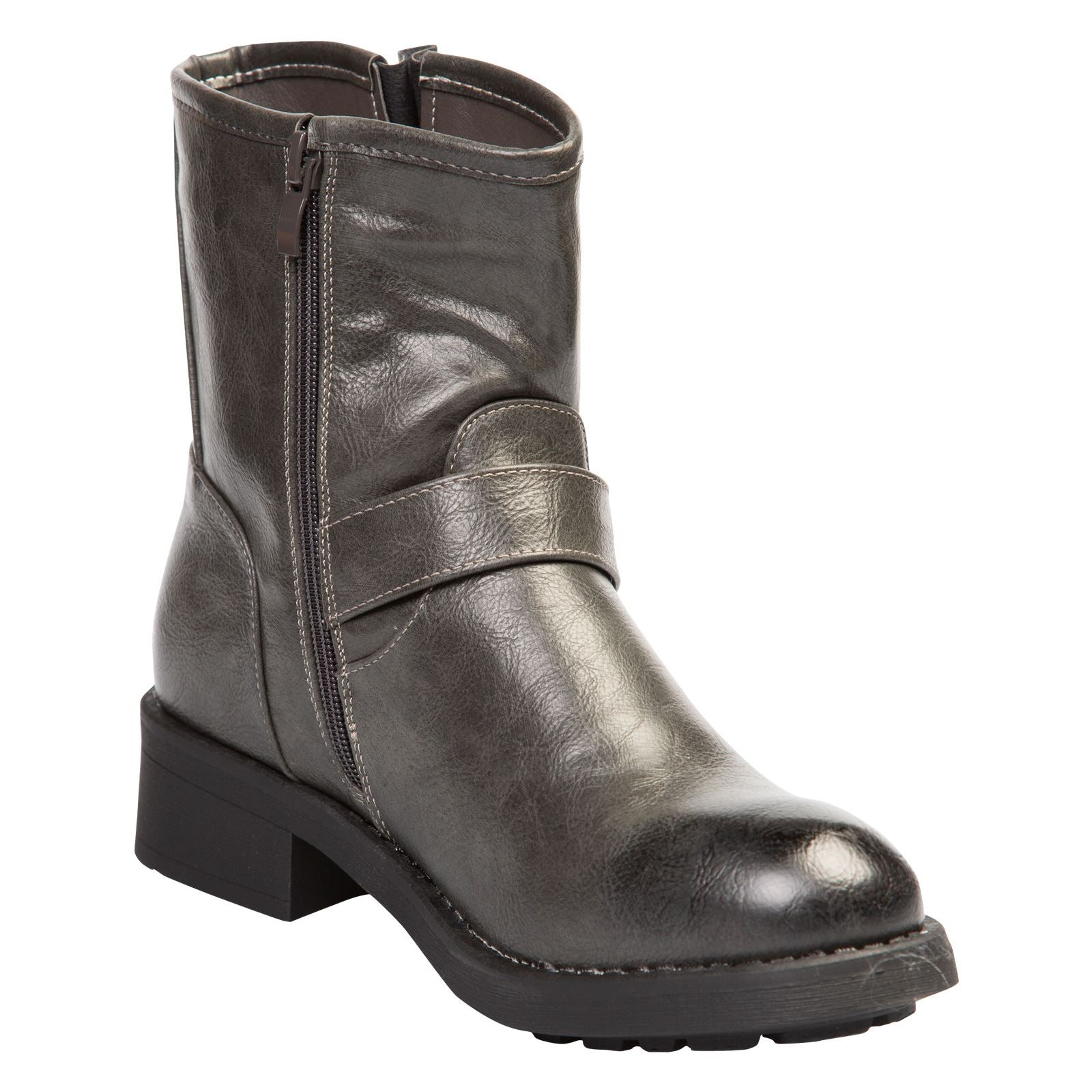 Valeria Biker Ankle Boots in Grey Faux Leather - Feet First Fashion