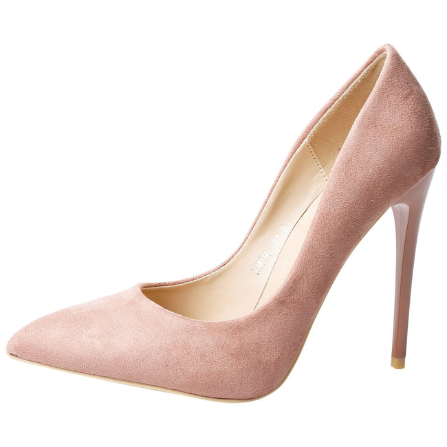 Danita Stiletto Heel Court Shoes in Pink Faux Suede
