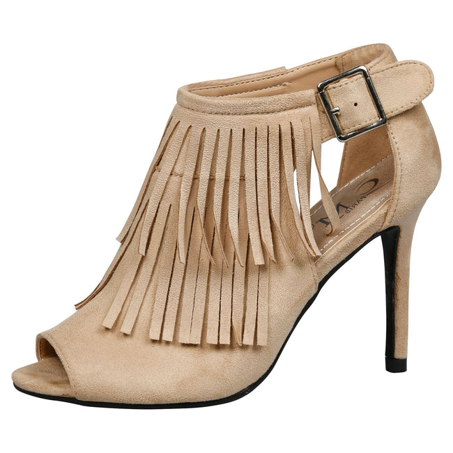 Zaha Fringed Peep Toe Booties in Beige Faux Suede