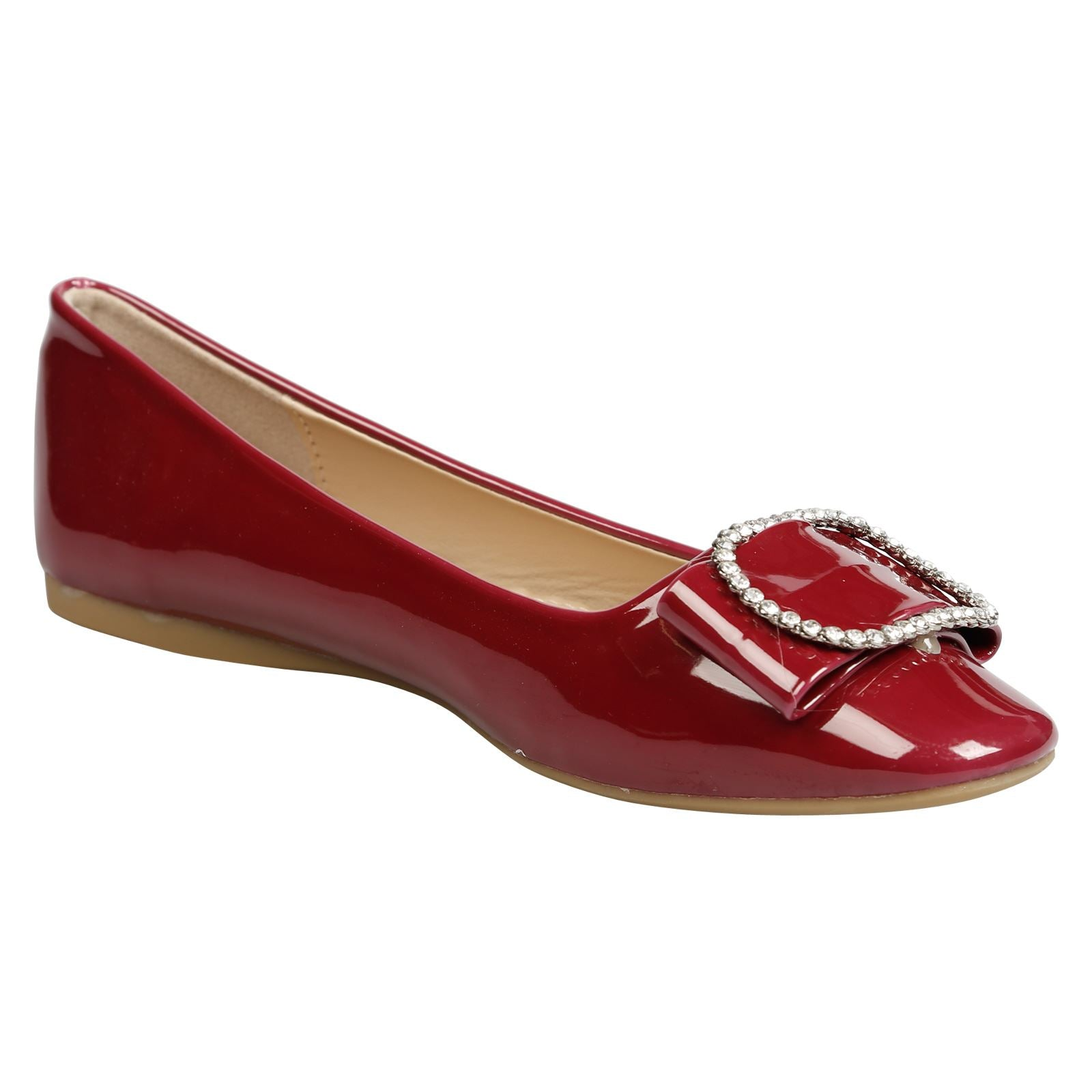 Julie Brooch Front Ballerina Flats in Wine Patent