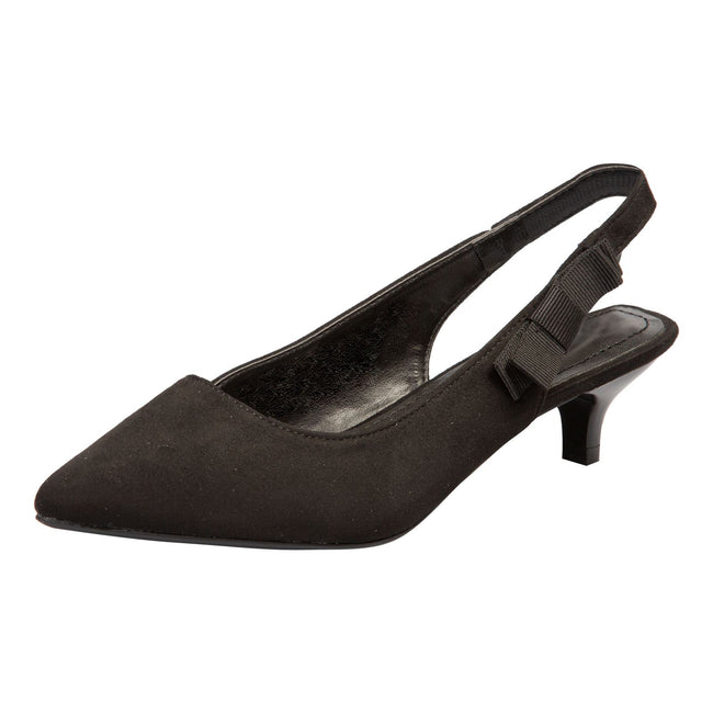 Alora Slingback Pumps in Black Faux Suede - Feet First Fashion