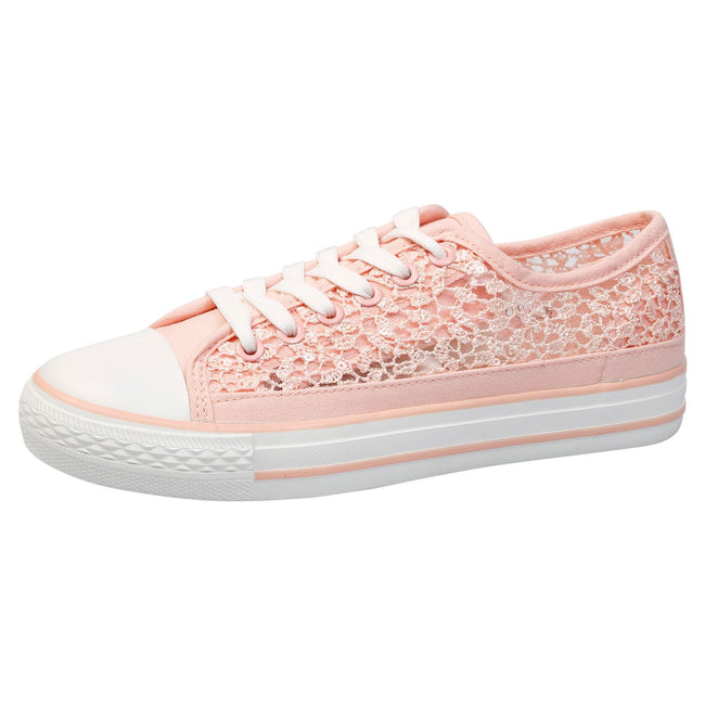 Sherilyn Floral Mesh Skater Trainers in Pink