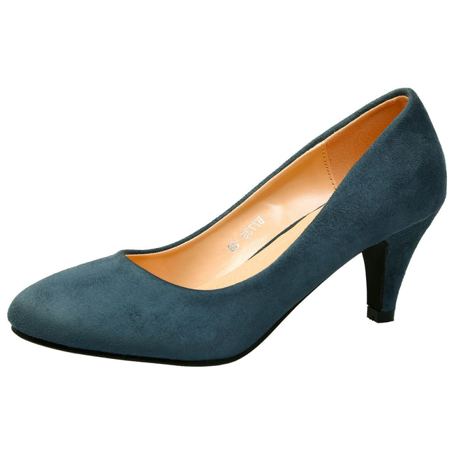 Leona Mid Heel Court Shoes in Blue Faux Suede