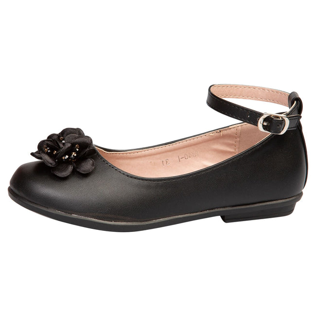 Nellie Girls Floral Ballerinas in Black Faux Leather - Feet First Fashion