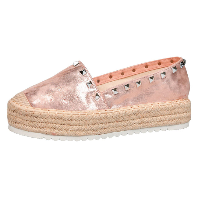 Marisol Studded Flatform Espadrilles in Rose Gold Faux Leather