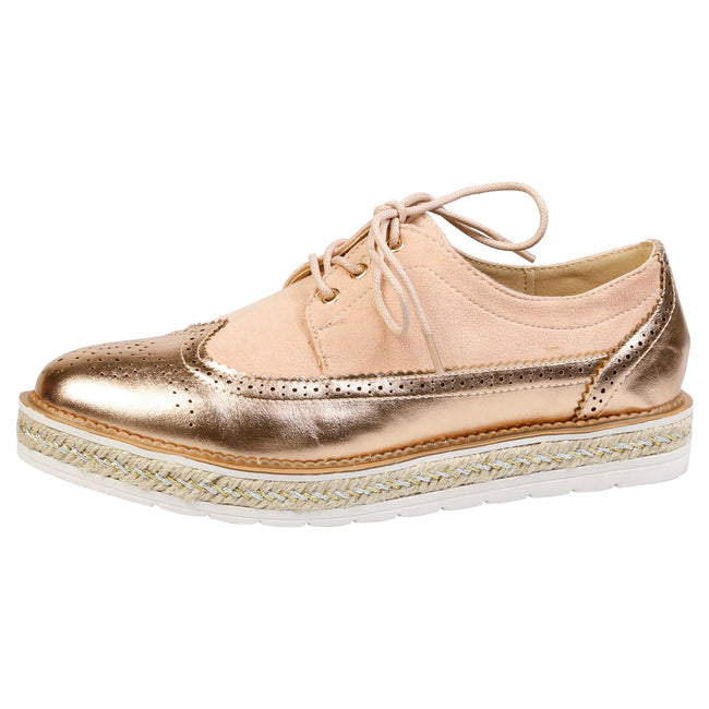 Regina Two Tone Flatform Brogues in Rose Gold & Pink