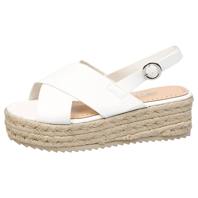 Joanne Slingback Flatform Espadrilles Sandals in White Faux Leather