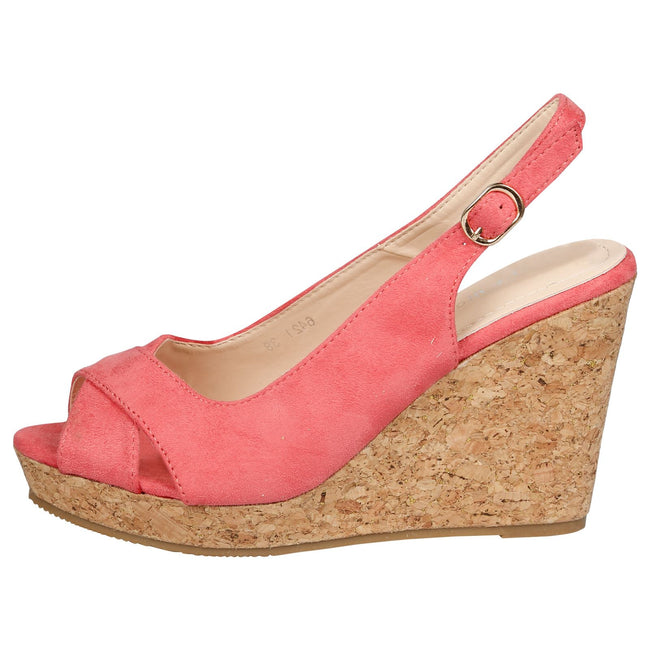 Dara Cork Sole Wedge Heel Slingback Sandals in Pink Faux Suede