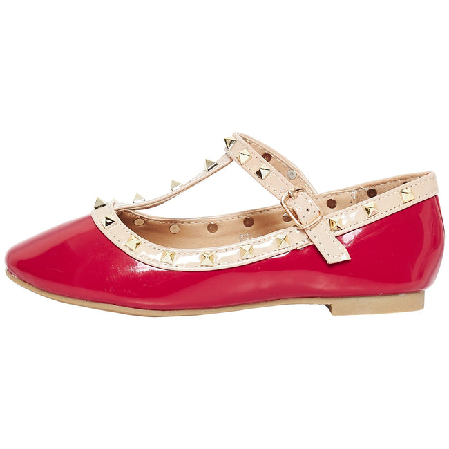 Marleigh Girls Studded T-Strap Flat Shoes in Red Patent - Feet First Fashion