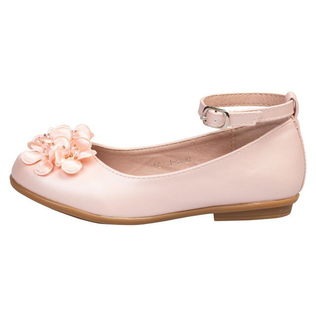 Nellie Girls Floral Ballerinas in Pink Faux Leather - Feet First Fashion