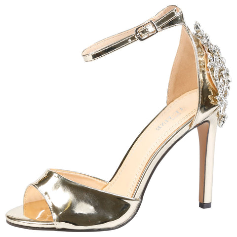 Laura Diamante Ankle Strap Sandals in Silver
