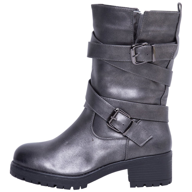 Raelynn Strappy Biker Boots in Grey - Feet First Fashion