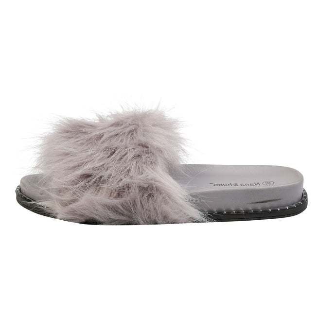 Roxanne Fluffy Sliders in Grey