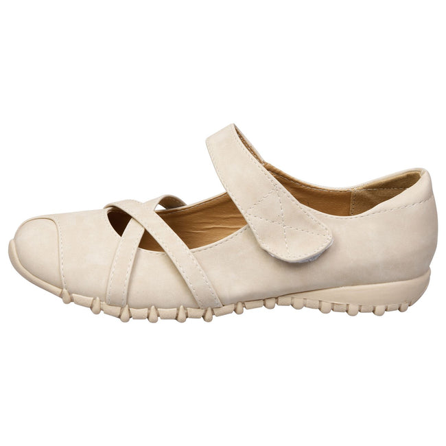 Selena Cushioned Mary Janes in Beige Faux Nubuck Leather