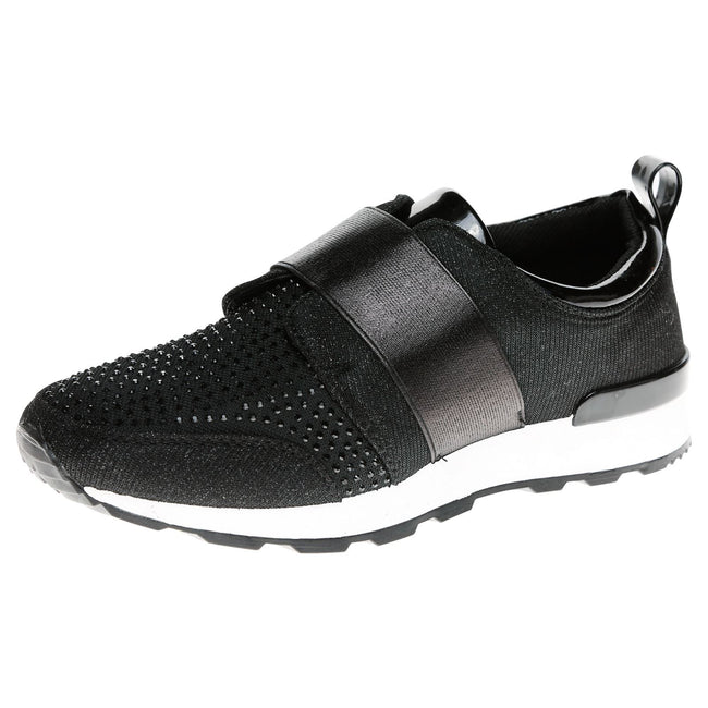 Isabelle Diamante Slip On Trainers in Black