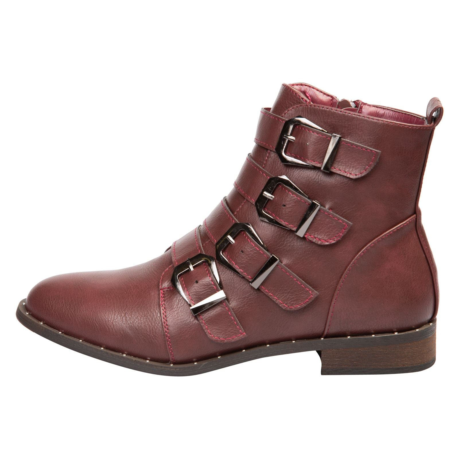 Harley Strappy Biker Boots in Wine Red Faux Leather - Feet First Fashion