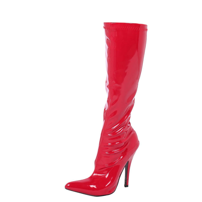 Candy Stiletto Heel Knee High Boots in Red Patent