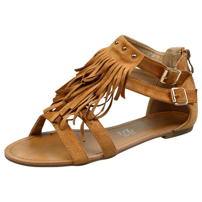 Penny Fringed T Bar Sandals in Camel Faux Suede